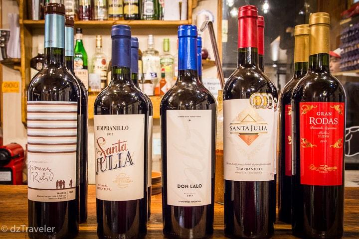 Local wine in Argentina