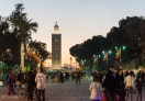 A view of Koutoubia Mosque at night - from Jemaa El-Fna square