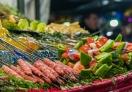 Food on display in Jemaa El-Fna square