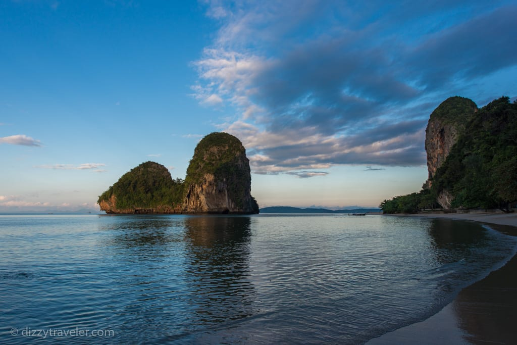 An early mornign view of Beautiful white sand Phranang Beach at Railay Bay East - Krabi
