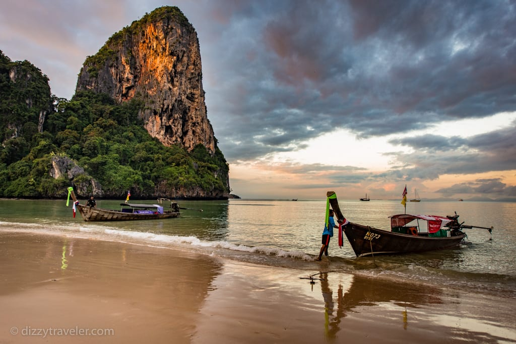 A view of Railay Beach and a longtail boat