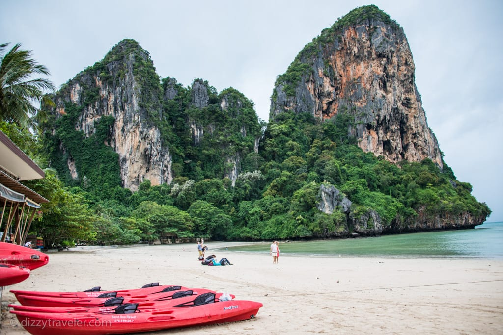 A early morning view of Railay Beach with low tide