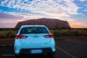 The renal car I was driving in Uluru, Australia
