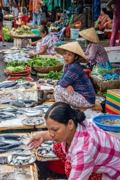Women selling fish at Dong Ba Market, Hue