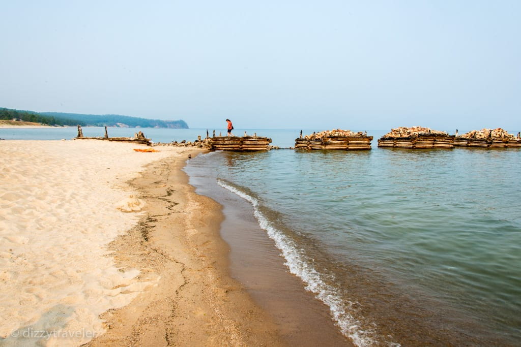 wooden pier - beautiful sandy beach