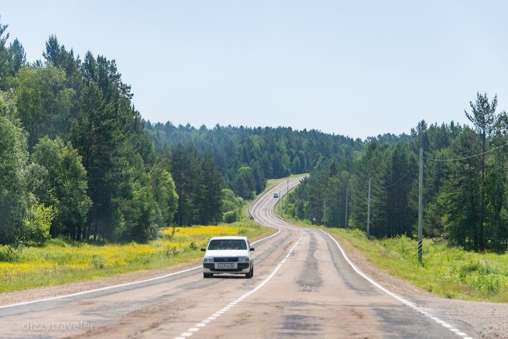 Road to Lake Baikal from irkutsk
