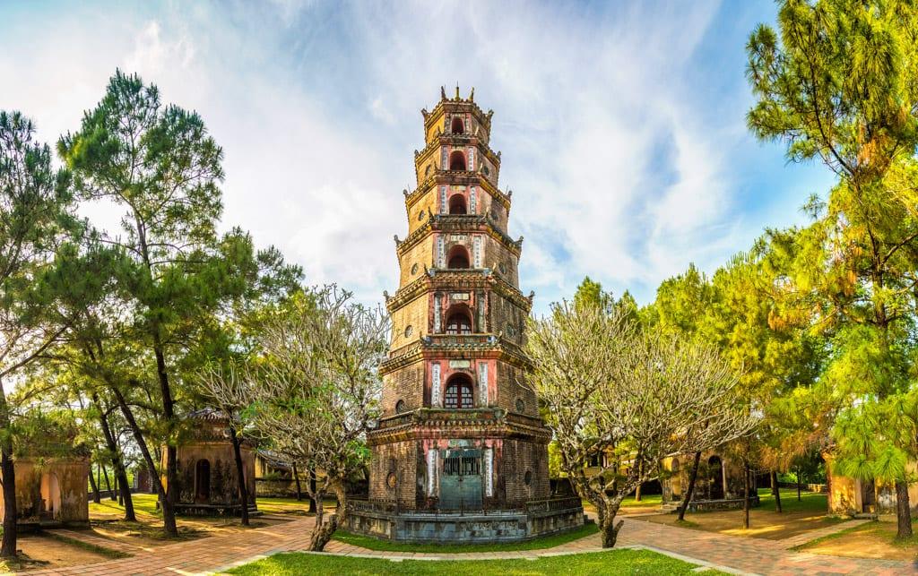 Panorama of Thien Mu Pagoda in Hue, Vietnam