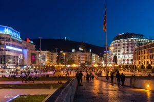 Macedonia Square at night, Skopje