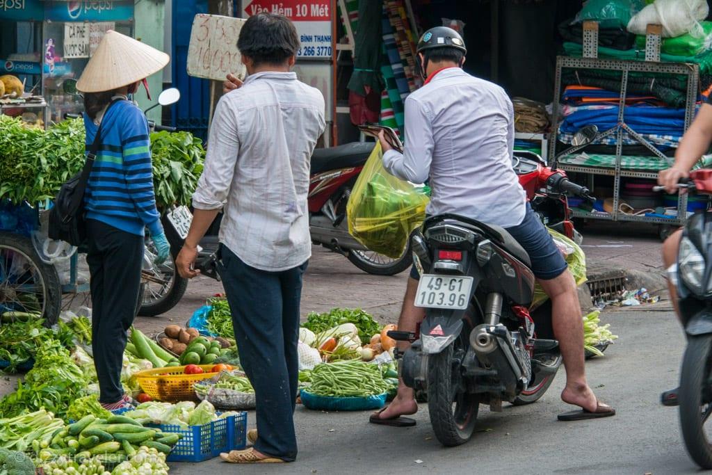 No need to get off the motorbike, Cho Ba Chieu Market, HCMC