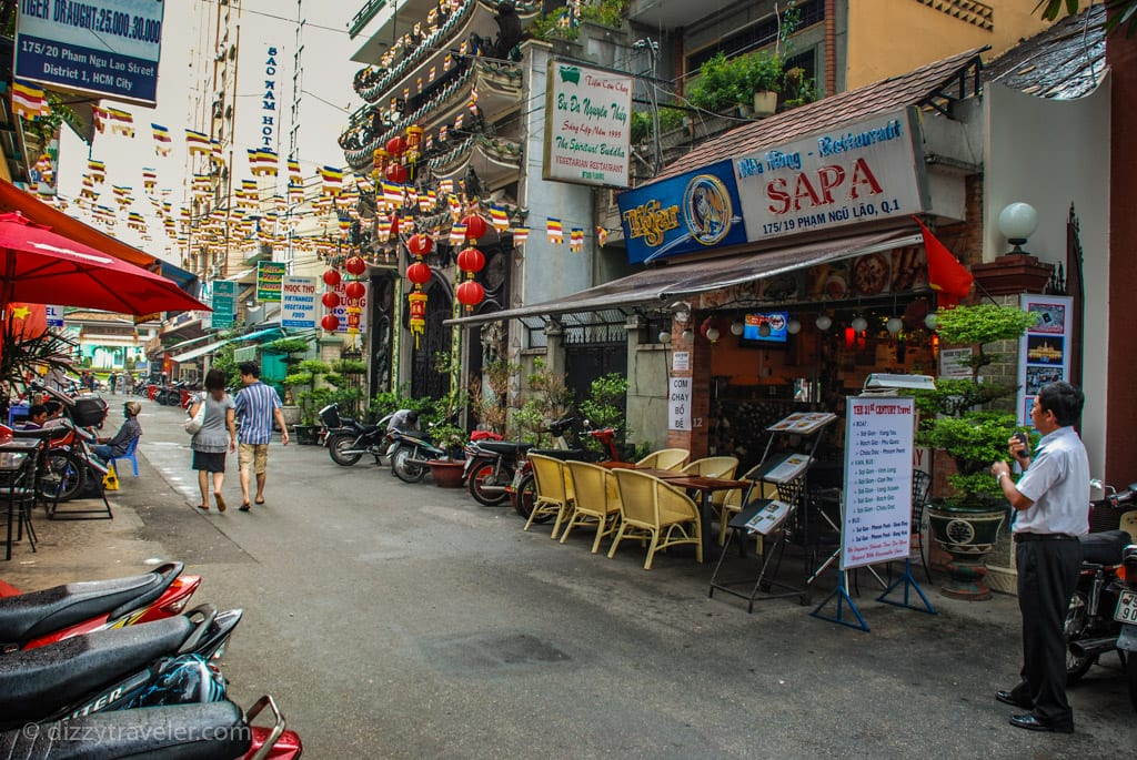 Backpackers area in Ho Chi Minh City, District 1