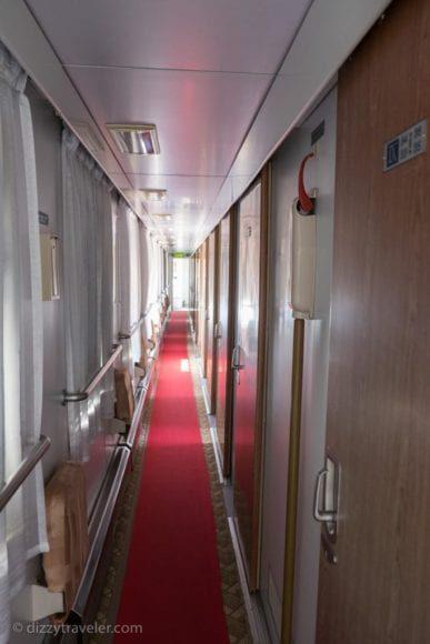 Our Coach Corridor inside the mongolian train